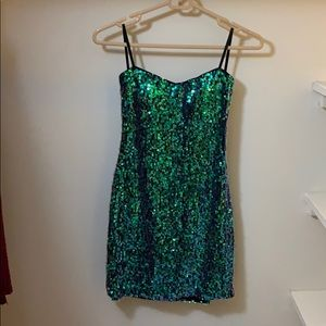Sequenced strapless homecoming dress.